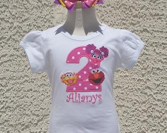 Sesame Street Elmo, Abby and Zoe Birthday Number Top, Custom Personalized Birthday Top