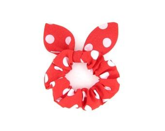 Knot Bow Hair Scrunchie Red Polkadot