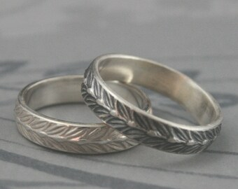 Sterling Silver Laurel Leaf Band--Solid Silver Wedding Band--Men's Patterned Band--Silver Ring--Custom made to Size