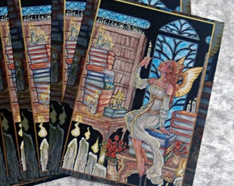 Set of 10 Holiday Postcards - Art Nouveau Angel Scholar Winged Woman Muse with Candles, Roses, and Books in a Library