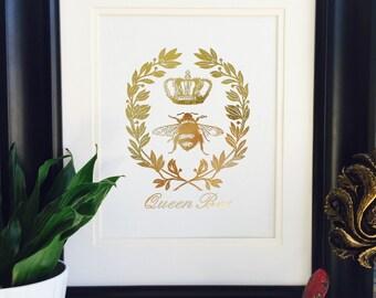 Queen Bee, Gold Foil Art, Gold Wall Art, Bumblebee Crown Print, Honey-Bee Designs, Beekeeping Gift