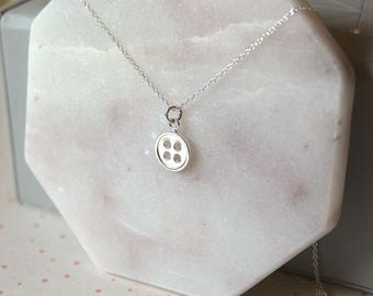 Silver Button Necklace // dainty sterling silver necklace // with gift packaging