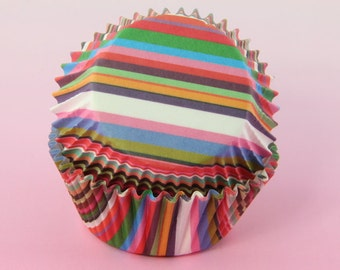 Rainbow Cupcake Liners Stripes 2'' Standard Size , Baking Cups,