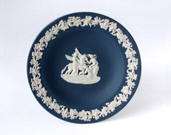 Wedgwood Portland Blue Jasperware Tray, Wedgwood White Relief Muses Watering Pegasus, Navy Blue Jasper Tray / Jasperware Dish / Tray