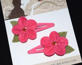 Tropical Hot Pink Felt Flowers Snap Clips - Buy 3 Items, Get 1 Free