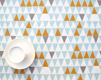 Linen tablecloth white turquoise blue grey orange triangles Geometric Modern Scandinavian Design Eco Friendly , runner , curtains ,eco GIFT