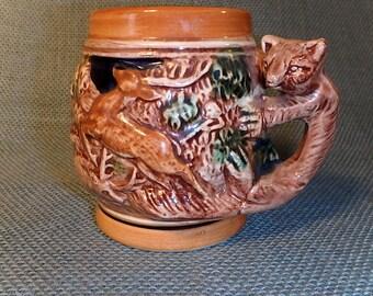 Ceramic Drinking Stein - Wildlife and Animal Scene - Vintage - Mage in Japan - Mug