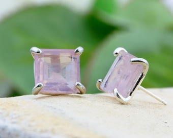 SUMMER SALE - Rose quartz earrings,square earrings,silver earrings,post earrings,stud earrings,gemstone earrings,pink earrings
