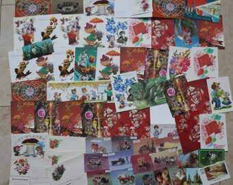A big set of Postcards of the USSR. Soviet postcards, in Russian, vintage postcards, collectible #18