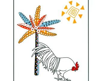Rooster print, White bird, Cockerel, Graphic Art, Illustration art, Bird in landscape, 10 x 8 print, Bird drawing, Colorful landscape art
