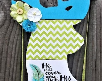 Deer Head, Wall Decor or Door Hanger. He Will Cover You With His Feathers, And Under His Wings You Will Find Refuge. Psalm 91:4
