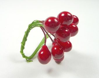 Vintage Millinery Pears Lacquered Fruit Decoration NOS Tiny Red Berries for Hats Crafts Corsage