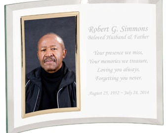 Personalized Engraved Crystal Crescent Memorial Picture Frame