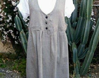 Vintage 1980's houndstooth oversized jumper dress size M