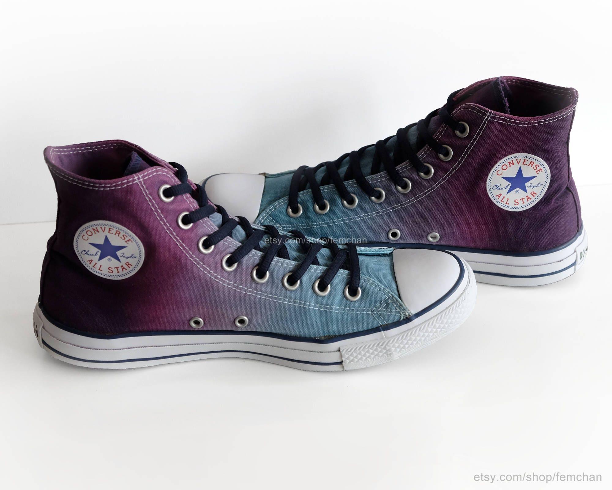 Converse All montantes, Stars, baskets montantes, All chaussures transformées, bleu glacier, violet, vin, pointure EU 44 (UK 10, us Hommes  10, us wo's 12) 2962aa