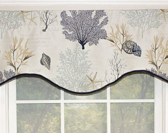 Chorales shaped valance with gimp trim