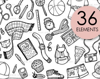 School Doodle Clip Art, Girls Clipart, Cute Hand Drawn, PNG, Personal and Small Commercial, Planner Stickers Supplies, Instant Download