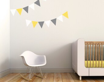 Flag Decal, Banner Wall Decal, Kids Decal, Pennants Decal, Yellow, Gray. Pennants Children Decal