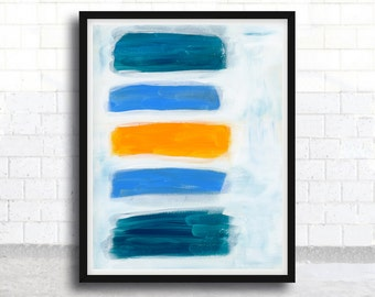 ABSTRACT painting, giclee, abstract giclee, fine art print, blue painting, orange, modern painting, giclee art print, acrylic painting