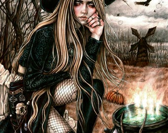 The Season of The Witch - 8x10' Print- Fantasy Gothic Halloween Wicca Art by Enys Guerrero