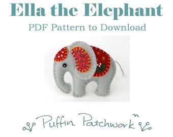Elephant PDF pattern, Felt elephant ornament pattern, Elephant sewing pattern, Felt Christmas ornament pattern, Handmade elephant ornament