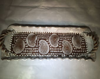 Handmade pottery tray with handles