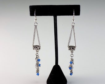 Blue Crystal Leaf Dangle Earrings