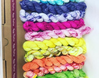 RAINBOWSPLASH COLLECTION PREORDER - beautiful co-ordinating rainbow collection of hand dyed mini skeins in a variety of weights available