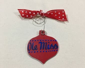 Red and Blue Christmas Ball Ornament - ready to ship