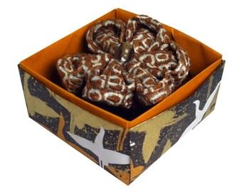 Mum's Gift, Kanzashi Silk flower brooch, Vintage Kimono shibori fabric, brown and white, origami box, Statement Jewelry, Artisan Gift Guide