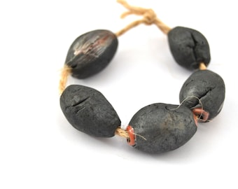 5 Black Raku Beads, Rustic Beads, Ceramic Art Beads, Handmade Clay Beads, Artisan Beads, Jewelry Supplies