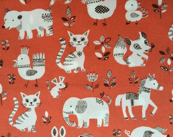 Japanese children Sevenberry fabric - Cotton - pets background ocher - 50 cm (110 x)