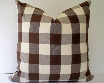 Brown Check Pillow, Brown Tan Pillow Brown Gingham Pillow Brown Buffalo Check Pillow Cover 0