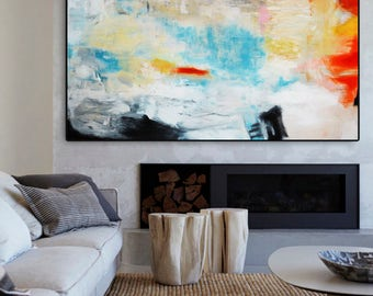 Abstract Painting, Red Blue Modern Painting, Large Abstract Painting, Red Blue Art Print, Fine Art Print, Blue Abstract, abstract giclee