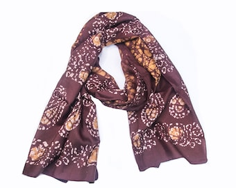 Silk Bohogypsy Scarf ~ ( EARTH ), Handloomed India Dyed Silk Fabrics, new era bohemian