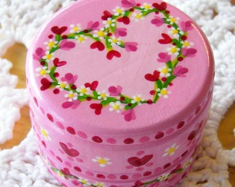Hand Painted Love Boxes Pink Daisy Heart Box Wood