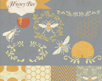 Instant Download - Honey Bees: Digital Clipart and paper Set