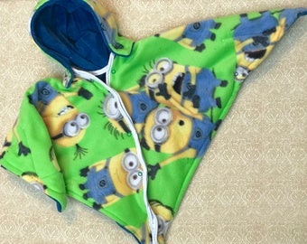 Car Seat Poncho 4 Kozy Kids (TM)-double sided, reversible, optional hood front snaps & batting, safe, warm-green yellow minions with blue