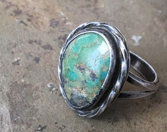 Turquoise Sterling Ring Vintage Old Pawn Silver Southwest Style