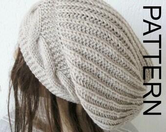 Instant Download Knitting  hat pattern  Digital  Knitting PATTERN Hat PDF Cable Knit hat  Pattern  Womens  Slouchy  Hat Knitting  Pattern