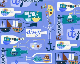 Seaside Collection Message in a Bottle Jill McDonald Baum Windham Cotton Quilt Periwinkle  42693-4 sewing crafting material