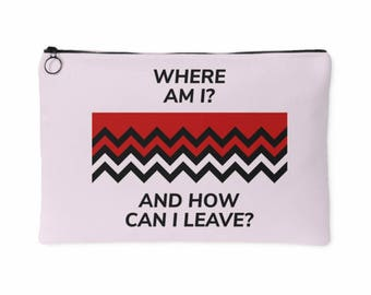 Twin Peaks Purse, Accessory Pouch - Dale Cooper - Where Am I? And How Can I Leave? Black Lodge Zip Handbag