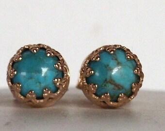 Delicate Turquoise gemstone earrings Post - stud earrings --  vintage - sterling Silver vermeil - Bridal