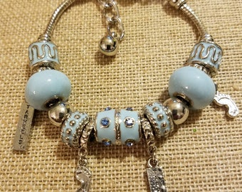 University of North Carolina (UNC) Tarheels Silver Bracelet made of Beads & Charms