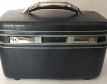 Vintage Samsonite Carrypak 12 Train Makeup Case with Mirror Travel 1997 Black
