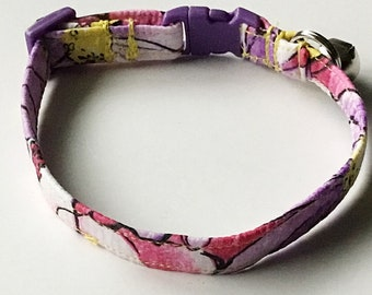 Purple and Pink Summer Breakaway Cat Collar with Bell
