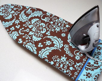 Ironing Board Cover TABLE TOP - brown with pale blue leaves flowers and fronds