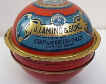 Early 20th century cheese tin J Laming and Sons Rotterdam for Edam cheese