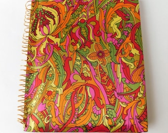 Vintage Magnetic PHOTO ALBUM Psychedelic Fabric COVER