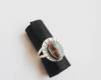 Sunbeam Ring, USA Mined Royston Turquoise and Sterling Silver Statement Ring
